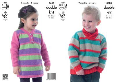 """King Cole Knitting Pattern 3680 Baby Childs Sweaters Sweater Dress DK 20-26"""" NEW"""