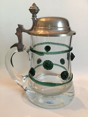 Antique German Beer Stein Late 1800's Heavy Glass Applied Prunts Emerald Green