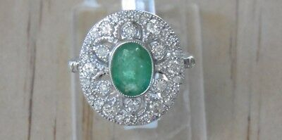 18ct White Gold - Emerald and Diamond Ring - Vintage Style Engagement Ring