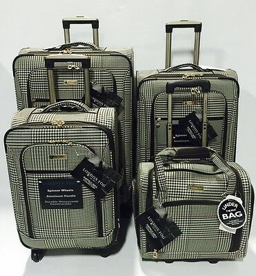 New London Fog Sheffield 4Pc Light Luggage Set Expandable Brown Houndstooth