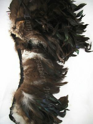 Natural Bronze Black Schlappen Rooster Feather Trim 5-6 Inch per Yard