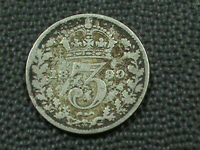 GREAT BRITAIN   3 Pence   1899   SILVER ,   $ 2.99  maximum  shipping  in  USA