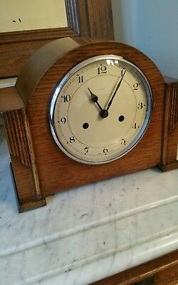 Very Rare Art Deco Enfield English 1930's Oak Chiming Mantle Clock