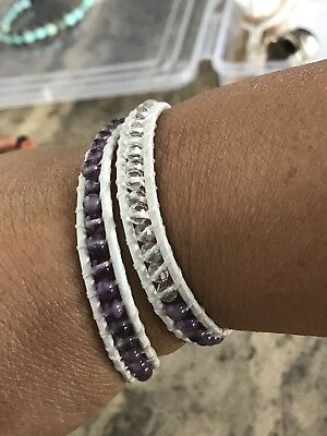Amethyst and crystals Mix Beaded Leather