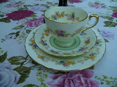 Lovely Vintage Tuscan English China Trio Tea Cup Saucer Pastel Green Floral