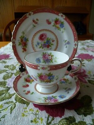 Lovely Vintage Tuscan English China Trio Tea Cup Saucer Plate Pink  Lowestoft