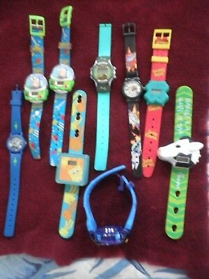 9 Novelty Watch Lot- Toy Story, Scooby Doo, Sponge Bob, Lucky Charms, Dexter...