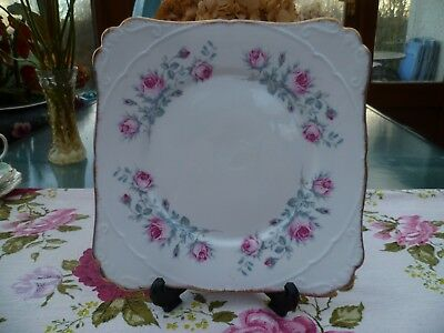 Lovely Vintage Gladstone English China Cake Sandwich  Plate Pink Roses