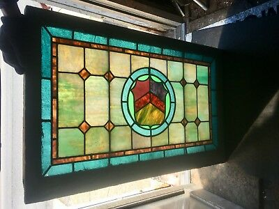 Special Shield Colored 1900's Stained Glass Window American Architectural Wow