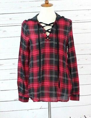 Polly & Esther Juniors Long Sleeves Black Red White Plaid Hoodie Blouse Size S