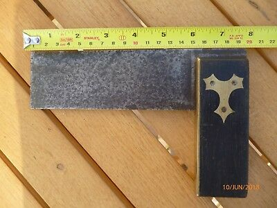 vintage carpenters square, ebony and brass with steel blade.
