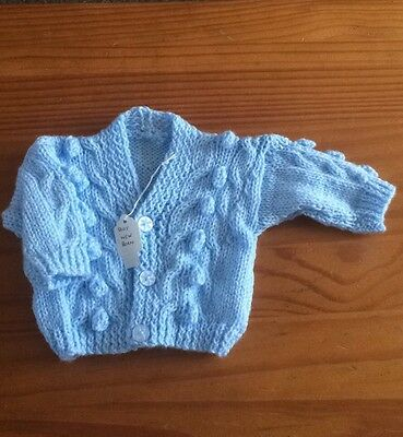 newborn Knitted Boys  Cardigan In Pale Blue .. Brand New