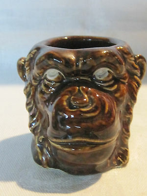 Weird vintage angry monkey figurine pencil holder cup