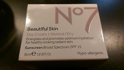 Boots No7 Beautiful Skin Day Cream Normal / Dry SPF 15 1.6 Fl 0z NEW