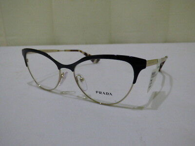 0c63354f7915 Prada PR 55SV QE3101 Cinema Black Gold Cat Eye Eyeglass Frames 52 16 140 NWT