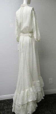 Victorian White Lawn Dress Skirt & Blouse Outfit Pin Tucks Lace Ruffles L/Train