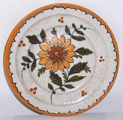 Vintage Gouda Pottery Plate Z Holland No 3441 Yellow Flower Signed 8 inch