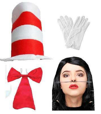 Dr Suess Red /& White Hat Book Week Character Fancy Dress Accessory Boys Girls BN