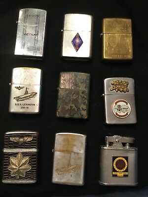 Lot Of 11 Vintage Military Themed Zippo Lighters