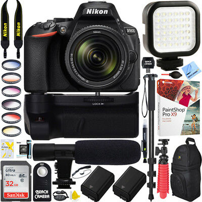 Nikon D5600 DSLR Camera + 18-140mm Lens Battery Grip & Mic Pro Video Bundle