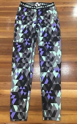 Under Armour Gray/Purple/green Athletic Leggings Youth med