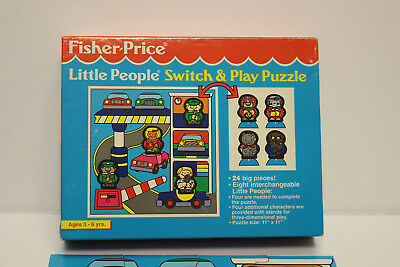 """VTG 1992 Fisher Price Little People Switch & Play Puzzle 24 BIG PIECES 11"""" x 11"""""""