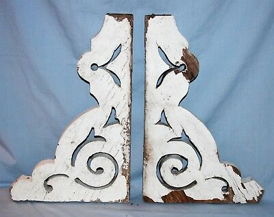 Pair Architectural Salvage Wood Corbels Chipping Paint