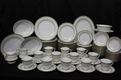 92pc Noritake EUGENIA China Set White Flower on Green Shade MINT; Service for 12