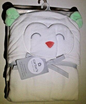 New Carter's Hooded Baby Infant Bath Towel Happy Owl Terry Material / Msrp $30