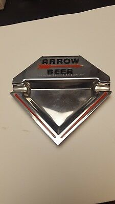 1940s - 1950s ARROW BEER CHROME ASH TRAY, GLOBE BREWING COMPANY, BALTIMORE, MD
