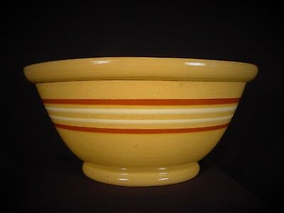Very Rare Large 12 ¾ Inch Antique American 4 Banded Bowl Yellow Ware Mint