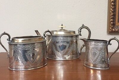 WALKER & HALL ENGLISH SHEFFIELD Teapot Sugar Creamer Set Silver-plate
