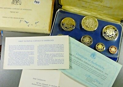 1973 Barbados Proof Set Eight Proof Coins