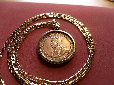 "XF 1930 AUSTRALIA Half Penny Bronze Coin on a Quality 24"" 14K Gold Filled Chain."