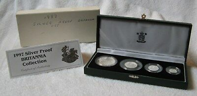 1997 Great Britain Silver Britannia 4-Coin Proof Set with Case, Sleeve & COA