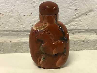 Chinese Unknown Age Red Stone or Agate Snuff Bottle w/ Carved Horse Decoration