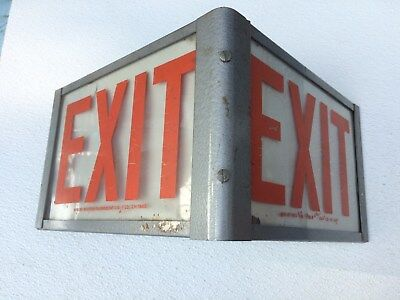 Vintage Western Light Company Exit Sign Triangle Shape