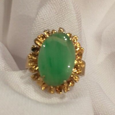 14 Carat Gold Handcrafted Jade Ring