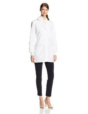 Cherokee Women's Scrubs 32 Inch Cuffed Sleeve Lab Coat, White, Small