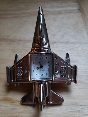 Miniature F16 US Air Force Chrome Jet Quartz Clock Japan movement  WORKS