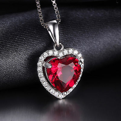 3.5ct Lovely Pigeon Blood Ruby Heart & CZ Necklace Pendant Solid Sterling Silver
