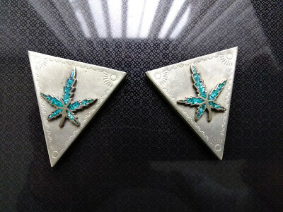 1960 Vintage Nickel Silver Shirt Collar Tips Turquoise Chip Inlay marijuana Leaf