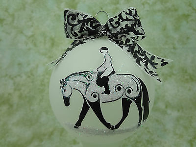 T015 Hand-made Christmas Ornament stylized HORSE tattoo- english hunter QH paint
