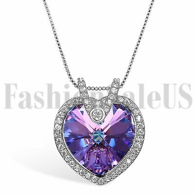 Womens Love Heart Made with Swarovski Elements Crystals Promise Pendant Necklace