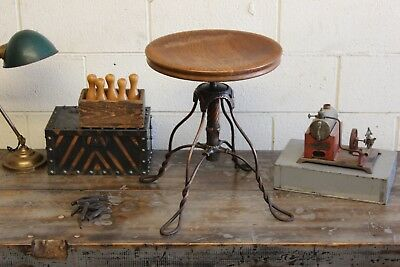 Vintage Antique Industrial Japanned Copper Flash Piano Stool Chair Arts Crafts
