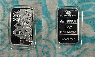 Rand Refinery 2013 Year of the Snake 1 oz 999 Fine Silver Bar in Capsule