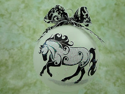 T002 Hand-made Christmas Ornament stylized HORSE tattoo- playful canter gallop