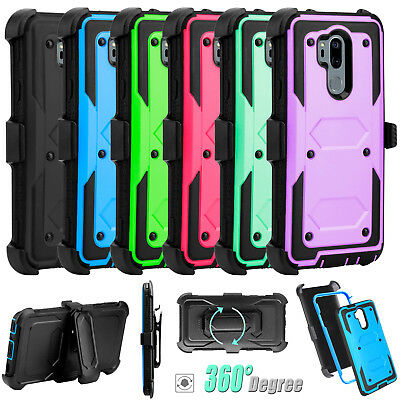 For LG G7 ThinQ/G7 One/Fit Case Hybrid Rubber Hard Holster Belt Clip Stand Cover
