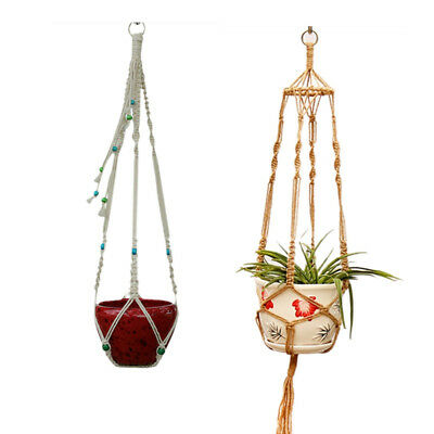 Decor Macrame Braided Rope Plant Hanger Garden Flower Pot Holder Hanging Basket