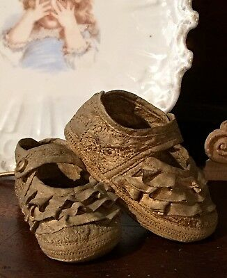 Vtg Antique Tiny Baby Bootie Shoes * Faux Bronzed Gilt for Display Keepsake